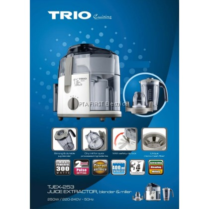 Trio 3 in 1 Juice Extractor, Blender and Miller TJEX-253 (300W)